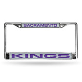 Sacramento Kings - SAC LASER Chrome Frame  - SILVER BACKGROUND WITH PURPLE LETTERS
