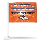 """Denver Broncos """"TIME TO RIDE"""" Car Flag"""
