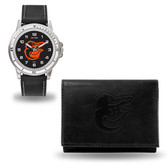 Baltimore Orioles MENS Black Watch and Wallet