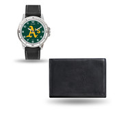 Oakland Athletics MENS Black Watch and Wallet