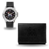 Miami Marlins MENS Black Watch and Wallet