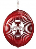 "Iowa State Cyclones ""I STATE"" Circle Swirly Metal Wind Spinner"