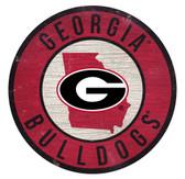 Georgia Bulldogs Sign Wood 12 Inch Round State Design