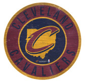 Cleveland Cavaliers Sign Wood 12 Inch Round State Design