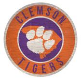 Clemson Tigers Sign Wood 12 Inch Round State Design