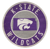 Kansas State Wildcats Sign Wood 12 Inch Round State Design