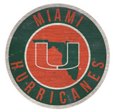 Miami Hurricanes Sign Wood 12 Inch Round State Design