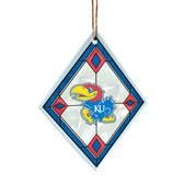 Kansas Jayhawks Art Glass Ornament