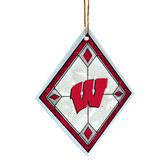 Wisconsin Badgers Art Glass Ornament