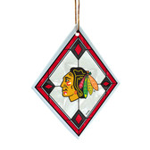 Chicago Blackhawks Art Glass Ornament