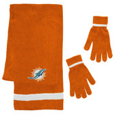 Miami Dolphins Scarf and Glove Gift Set Chenille