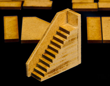Stairs - 4 Per Kit (MDF) - 15MMDF047