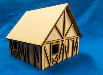 One Story Small Half Timber House  - 28MMDF301