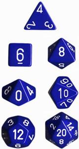 Opaque Polyhedral Blue/white 7-Die Set