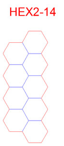 "Hex Bases, Array of Nine In Two Rows - (2"")"