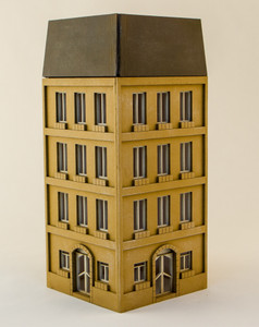 15mm European City Corner Building (Matboard) - 15MCSS124