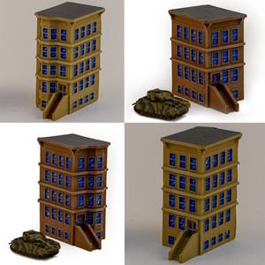 """6mm """"Brownstone"""" Corner Buildings - Set Of 4 Buildings - 285MEV130"""
