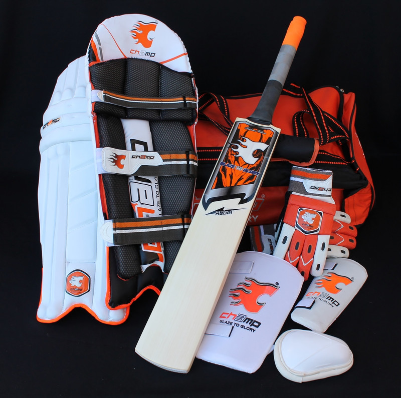 NEW RELEASE CHAMP REBEL - Junior Cricket Kit/Set (Size H)