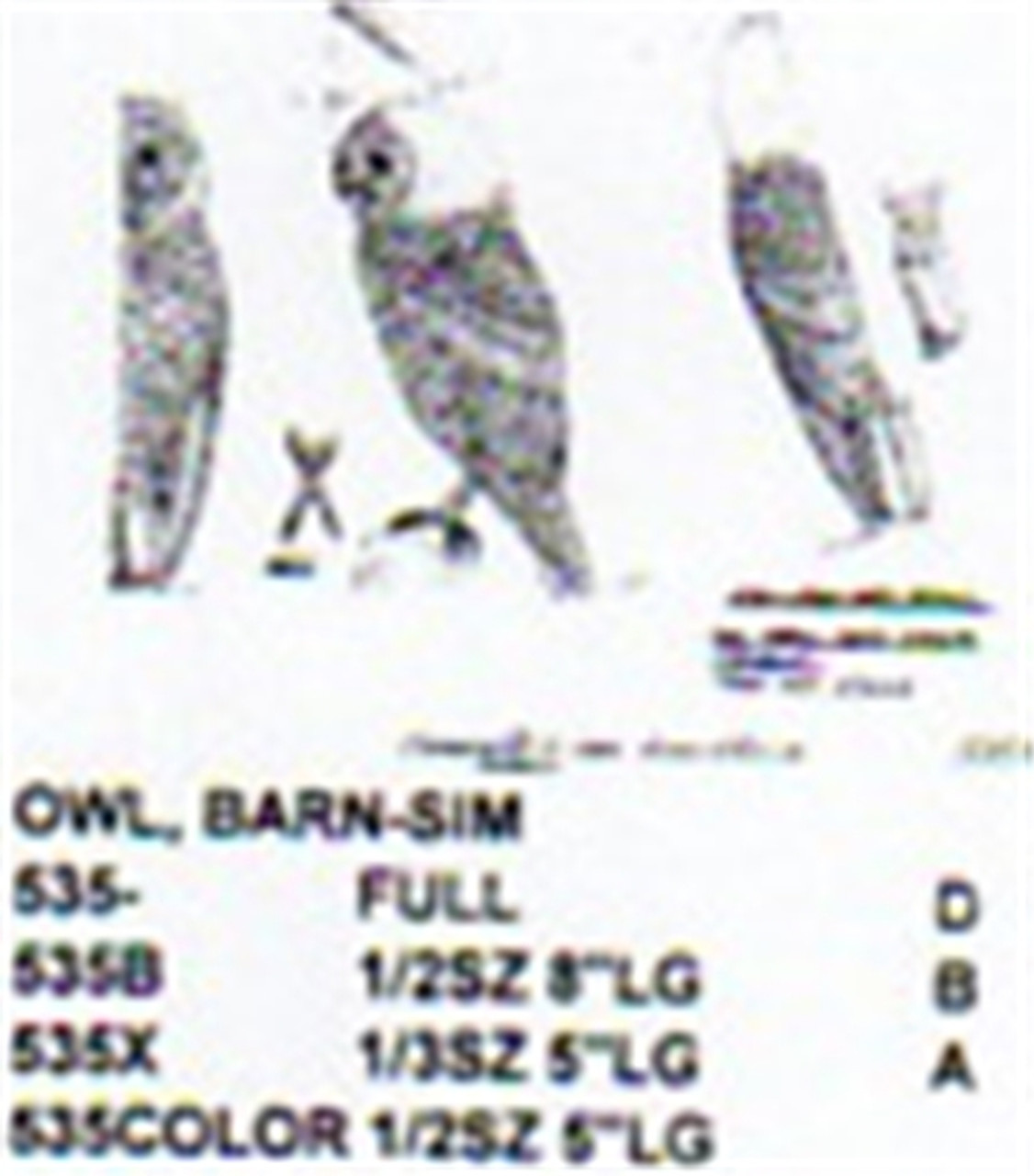 Barn Owl Standing Carving Pattern