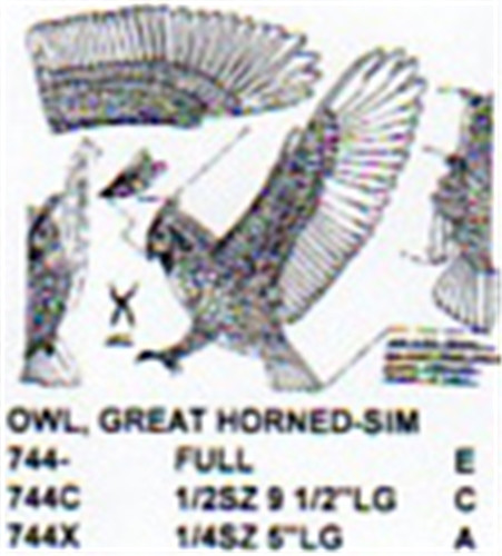 Great Horned Owl Flying Attacking Carving Pattern