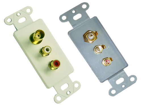 Dual RCA Jack and one female BNC jack wall plate insert Calrad 28-127