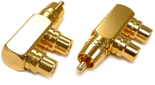 Right angle RCA male plug to two RCA jack adapter