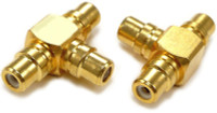 RCA female to two RCA female adapter, gold plated