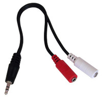 Mini plug Stereo to mono Y splitter cable, Dual 3.5mm female mono mini jacks to 3.5mm male stereo plug