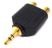 Two RCA female Jack to 3.5mm Stereo Plug adapter
