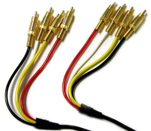 4 RCA plug to 4 RCA Plug Cable, 3 feet long , Gold plated connectors.