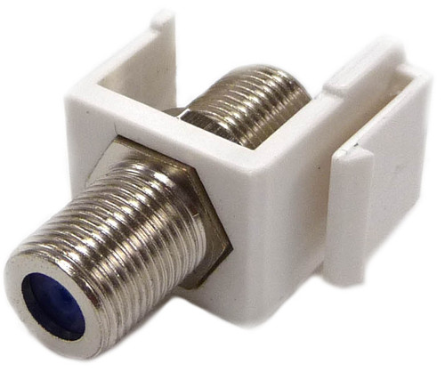 "Coax ""F"" Connector 2GHz Keystone Jack Insert, White"