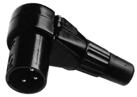 Right Angle Male XLR Connector, 3 Pin, Black or Silver
