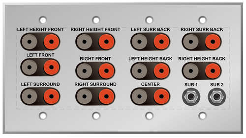 11.2 Home Theater Speaker and Sub Woofer Wall Plate