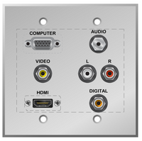 VGA and HDMI Wall plate with AV inputs, Coax RCA Digital Audio