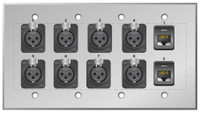 Custom 8 XLR Female and dual Cat5e Studio Series Wall Plate