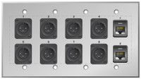 Custom 8 XLR Male and dual Cat5e Studio Series Wall Plate