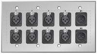 Custom 8 XLR Female and dual XLR Male Studio Series Wall Plate