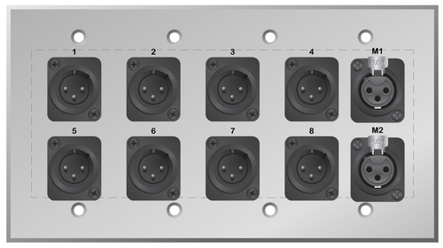 Custom 8 XLR Male and dual XLR Female Studio Series Wall Plate
