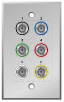3G, HD SDI, SDI Wall plate with 6 BNC Connectors