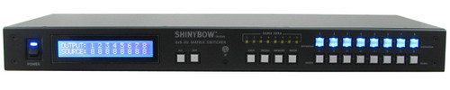 Shinybow SB-5548LCM 8x8 Composite Video, Stereo Audio and Digital Audio Matrix Routing Switcher, front