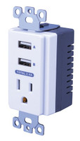 Dual USB In-Wall Charger with AC