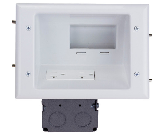 Recessed Low Voltage Mid-Size Plate with 20 Amp Duplex Receptacle