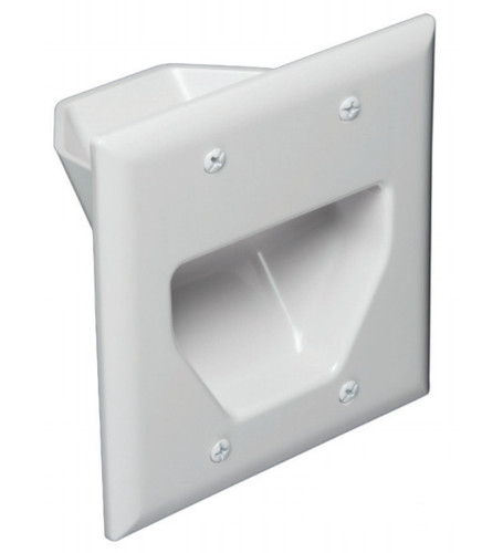 Dual Gang Recessed Low Voltage In-Wall Cable Pass Through Plate