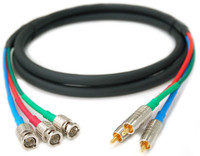 Custom Component Video Cable, RCA to BNC, Canare Connectors, In-wall rated