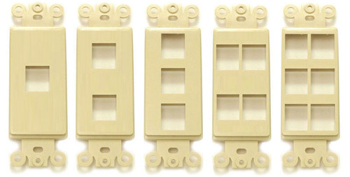 Designer Style Style Keystone Wall plate insert, 1 to 6 ports, Ivory or White