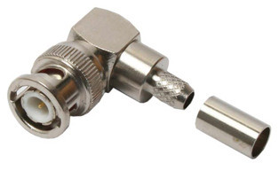 BNC Right Angle crimp connector, 75 ohm