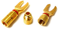 Spade terminal, Heavy Duty Gold plated, Red Color coded, Calrad 30-615-RD