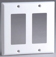 Designer Style Wall Plate Surround, Dual Gang, in Ivory