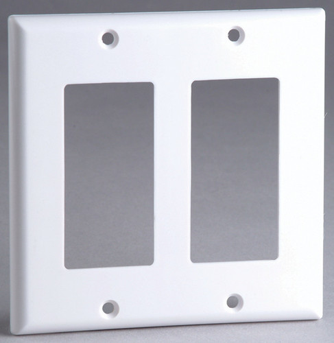 Designer Style Wall Plate Surround, Dual Gang, in White