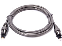 Toslink Cable, 6 feet long, High performance, metal Hood with gold plated cladding, 5mm diameter low loss Optical fiber
